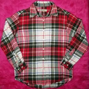Eddie Bauer Red & Green Button Down Flannel Shirt